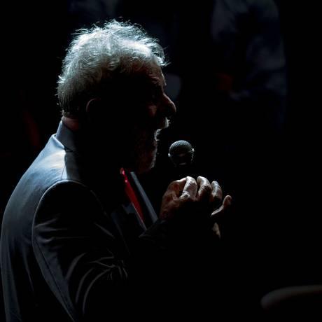 O ex-presidente Lula em comício no Circo Voador, 02/04/2018 Foto: Mauro Pimentel / AFP