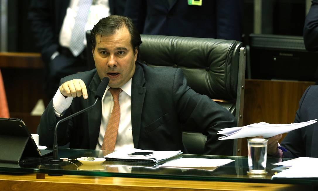 O presidente da Câmara, Rodrigo Maia (RJ), no plenário da Câmara, durante sessão Foto: Givaldo Barbosa/Agência O Globo/27-03-2018