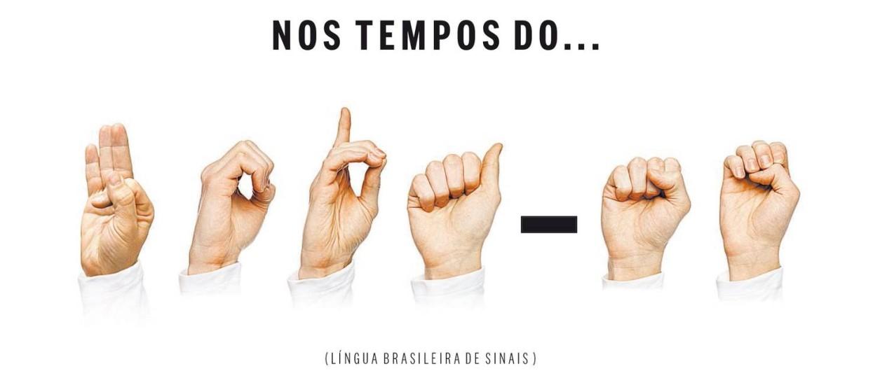 """Na Língua Brasileira de Sinais, a mensagem acima significa """"F*da-se"""" Foto: Arte"""