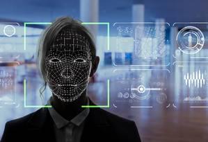 Ilustração do funcionamento de um sistema de reconhecimento facial Foto: Shutterstock/chombosan / .