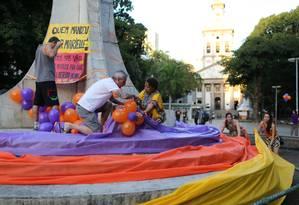 Ato em homenagem a Marielle e Anderson no Largo do Machado Foto: Marcia Foletto / Marcia Foletto
