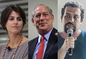 Manuela D'Ávila, Ciro Gomes e Guilherme Boulos Foto: Montagem de fotos