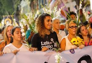 Anielle Silva, irmã de Marielle, emocionada durante o ato Foto: Brenno Carvalho / Agência O Globo