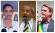 Marina Silva (Rede), Lula (PT) e Jair Bolsonaro (PSL)