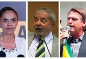 Marina Silva (Rede), Lula (PT) e Jair Bolsonaro (PSL) Foto: Montagem sobre fotos de arquivo