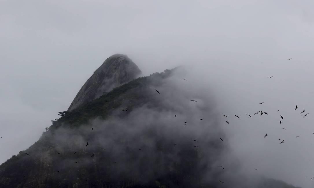 O Morro Dois Irmãos quase encoberto pelo nevoeiro Domingos Peixoto / Agência O Globo