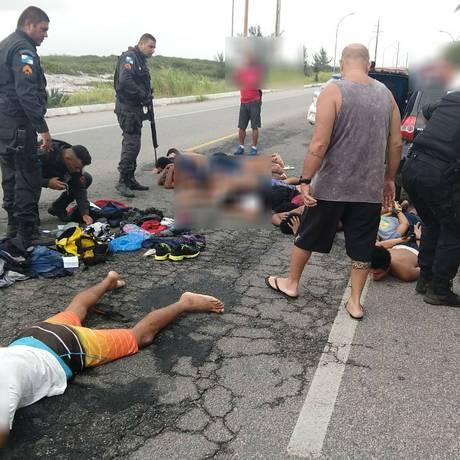 Onze detidos por policiais militares em Arraial do Cabo Foto: Reprodução