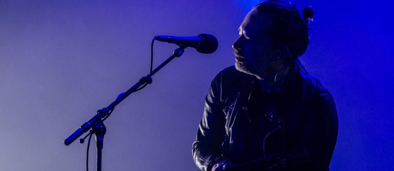 O vocalista Thom Yorke durante o show do Radiohead, em Buenos Aires, no sábado Foto: Santiago Bluguermann