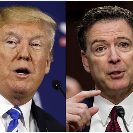 Ex-diretor do FBI James Comey e presidente Donald Trump Foto: Evan Vucci//Andrew Harnik / AP