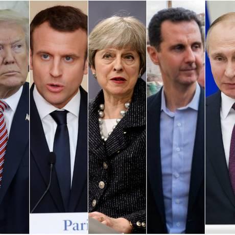 Os presidentes de EUA e França, Donald Trump e Emmanuel Macron; a premier britânica, Theresa May; os chefes de Estado sírio e russo, Bashar al-Assad e Vladimir Putin Foto: Reuters/AFP