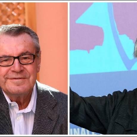 O tcheco Milos Forman (1932-2018) e o italiano Vittorio Taviani (1929-2018) Foto: AP/AFP