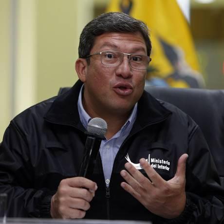 Ministro do Interior do Equador, César Navas fala sobre as investigações da morte de dois jornalistas e o motorista deles Foto: CRISTINA VEGA RHOR / AFP