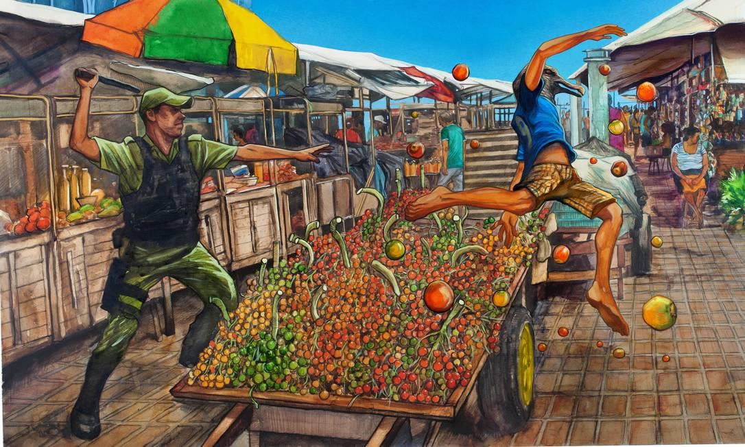 """Ilustração da HQ """"Castanha do Pará"""", de Gidalti Moura Jr., censurada em Belém Foto: Reprodução"""