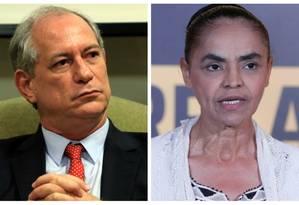 Ciro Gomes (PDT) e Marina Silva (Rede) Foto: Montagem sobre fotos de arquivo