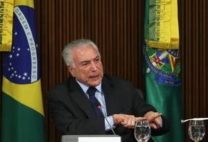 O presidente Michel Temer durante reunião ministerial no Palácio do Planalto 12-04-2018 Foto: Givaldo Barbosa / Agência O Globo