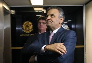 O senador Aécio Neves (PSDB-MG) Foto: Givaldo Barbosa / Agência O Globo 16/04/2018