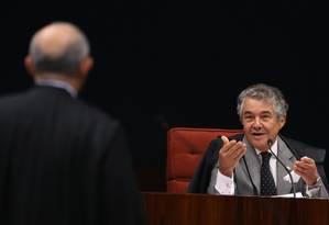 Supremo Tribunal Federal (STF) durante julgamento para decidir nesta terça-feirase recebe denúncia contra o senador Aécio Neves (PSDB-MG) Foto: Ailton de Freitas / Agência O Globo