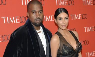Kanye West e Kim Kardashiana, na festa do TIME 100 Gala, em Nova York Foto: Evan Agostini / Invision/AP