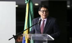 O presidente da Funai, Franklimberg Ribeiro de Freitas, durante a abertura da Semana do Índio Foto: Marcelo Camargo/Agência Brasil/16-04-2018