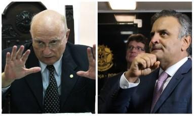 O ex-ministro Osmar Serraglio (PP-PR) e o senador Aécio Neves (PSDB-MG) Foto: Montagem / O GLOBO