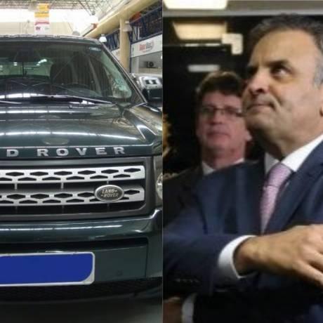 Aécio também é dono de um carro da marca Land Rover Foto: Montagem O Globo