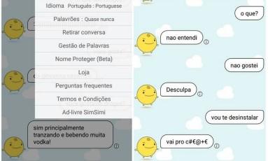 App SimSimi, criado por uma empresa coreana, foi alvo de muitas denúncias no Brasil: palavrões, termos preconceituosos e insicitações a crimes Foto: Reprodução