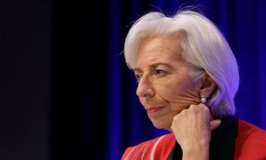 Christine Lagarde na conferência da IMFC Foto: YURI GRIPAS / REUTERS