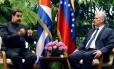Presidentes da Venezuela, Nicolás Maduro, e de Cuba, Miguel Díaz-Canel, em Havana Foto: ERNESTO MASTRASCUSA / AFP
