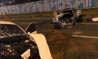 Veículos envolvidos em acidente na Barra da Tijuca Foto: Reprodução/Facebook - Página Bangu ao vivo