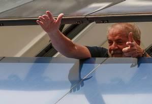 O ex-presidente Lula, no Sindicato dos Metalúrgicos do ABC Foto: Miguel Schincariol/AFP/07-04-2018