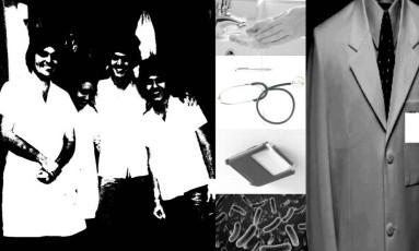 Montagem mostra os instrumentos e vestimentas do exercício da medicina e destaca a importância de higienização Foto: Reprodução