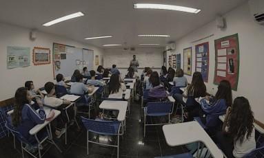 Alta. Sala do Colégio pH, controlado pela Somos Educação: união com Kroton fez ações das empresas dispararem Foto: Divulgação