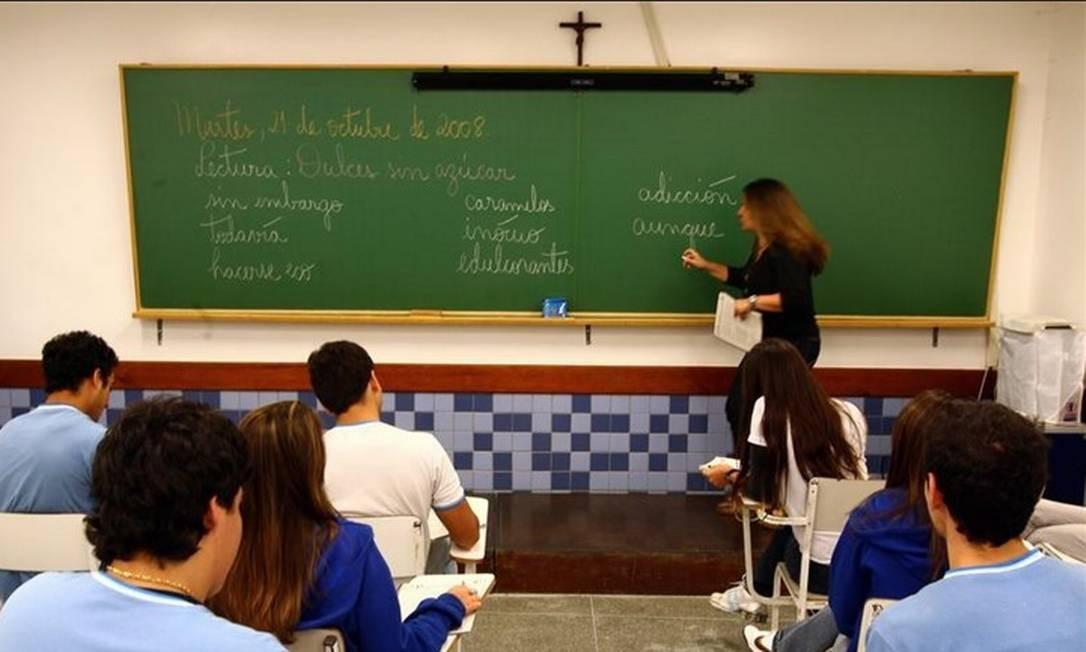 Aula de Espanhol do colégio PH, na Barrinha Foto: Hudson Pontes - Agência O Globo
