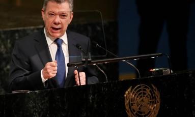 Juan Manuel Santos durante discurso sobre a manutenção de paz na ONU Foto: MIKE SEGAR / REUTERS