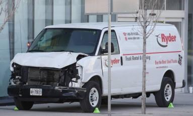 Van alugada que Minassian utilizou em ataque de Toronto Foto: LARS HAGBERG / AFP