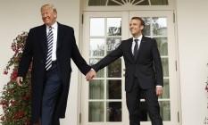 Os presidentes Donald Trump, dos EUA, e Emmanuel Macron, da França, durante encontro na Casa Branca Foto: KEVIN LAMARQUE / REUTERS