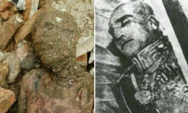 A múmia que pode ser de Reza Pahlavi e o corpo do monarca Foto: Reprodução