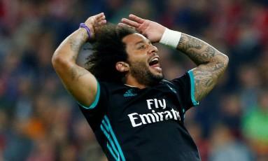 Marcelo comemora o gol de empate do Real Madrid contra o Bayern Foto: MICHAELA REHLE / MICHAELA REHLE/REUTERS