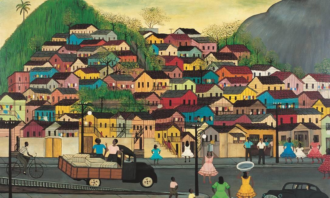 """""""Morro da Mangueira"""", óleo sobre tela de Heitor dos Prazeres, de 1965 Foto: Divulgação"""
