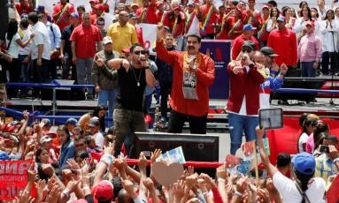 O presidente da Venezuela, Nicolás Maduro, em comício da sua campanha à reeleição, na cidade de Tucupita Foto: Divulgação / REUTERS