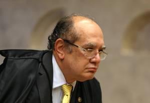 O ministro Gilmar Mendes, durante sessão do Supremo Foto: Aílton de Freitas/Agência O Globo/18-04-2018