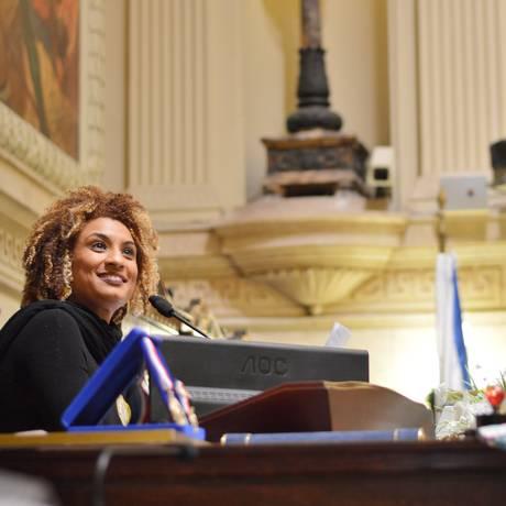 Marielle Franco na Câmara Municipal do Rio Foto: Rafaela Cassiano / Agência O Globo