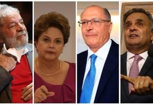 Lula, Dilma Rousseff, Geraldo Alckmin e Aécio Neves Foto: Montagem fotos de arquivo