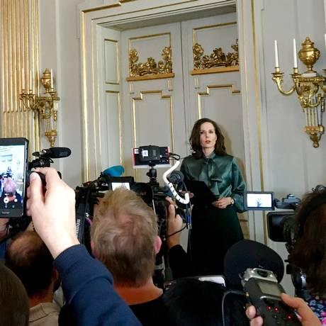 Sara Danius, ex- secretária permanente da Academia Sueca em 2017, que renunciou depois das denúncias Foto: Anna Ringstrom / REUTERS