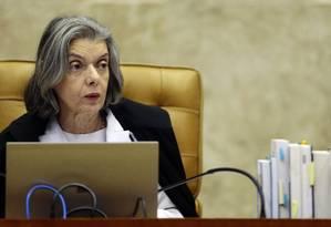 A presidente do Supremo Tribunal Federal (STF), ministra Cármen Lúcia retoma o julgamento sobre a restrição ao foro Foto: Jorge William / Agência O Globo