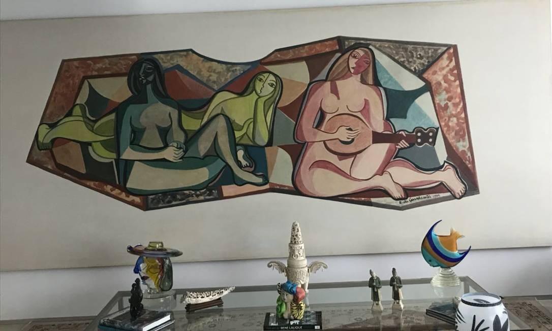 Painel de Di Cavalcanti na sala de Dario Messer Foto: Reprodução