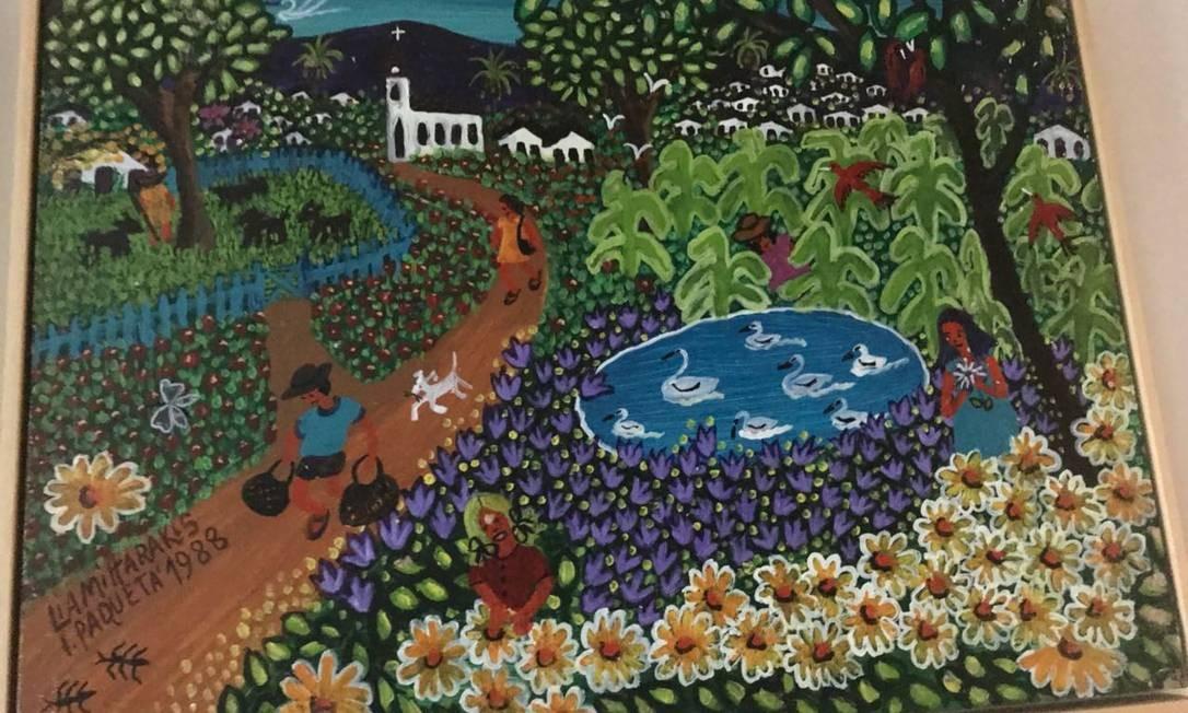 Quadro da pintora de arte naïf Lia Mittaralkis Foto: Reprodução