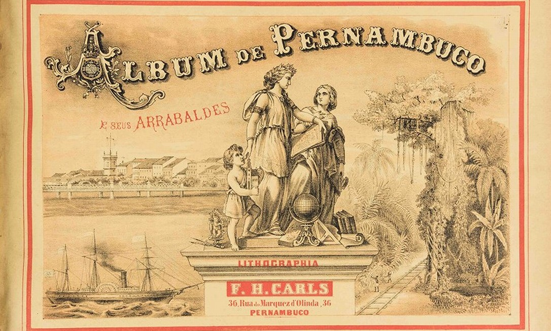 Album 'Pernambuco e seus arrabaldes', de 1878, que terá 29 de suas 50 gravuras verificadas Foto: Reprodução