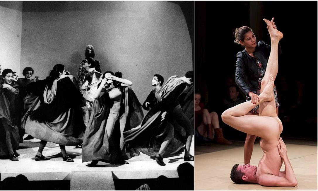 """À esquerda, montagem de """"Roda Viva"""", de Chico Buarque, em 1968. Ao lado, performance """"La bête"""", de Wagner Schwartz, no Festival de Curitiba de 2018 Foto: Divulgação"""