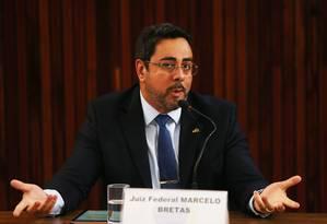 O juiz federal Marcelo Bretas durante evento no Tribunal Superior Eleitoral (TSE), em Brasília Foto: Givaldo Barbosa / Agência O Globo
